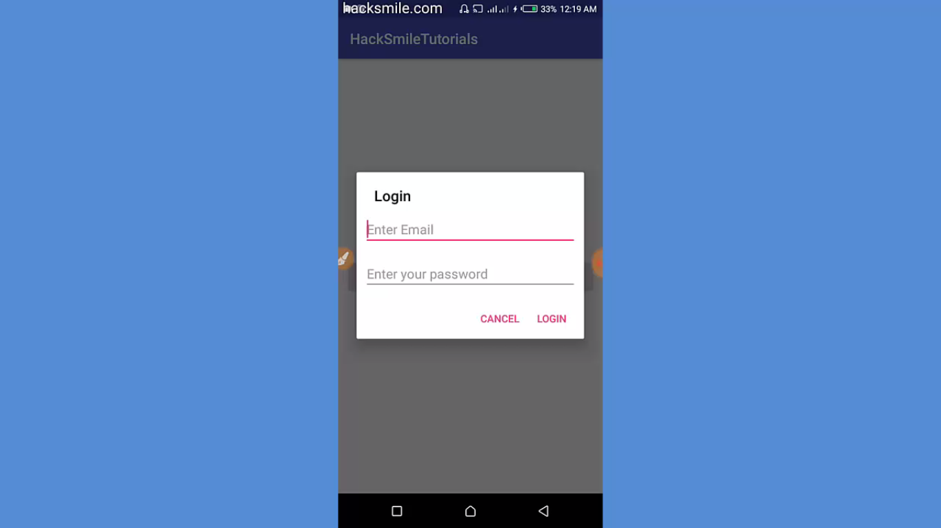 Android Dialog with custom layout example