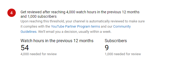 Get reviewed after reaching 4,000 watch hours in the previous 12 months and 1,000 subscribers