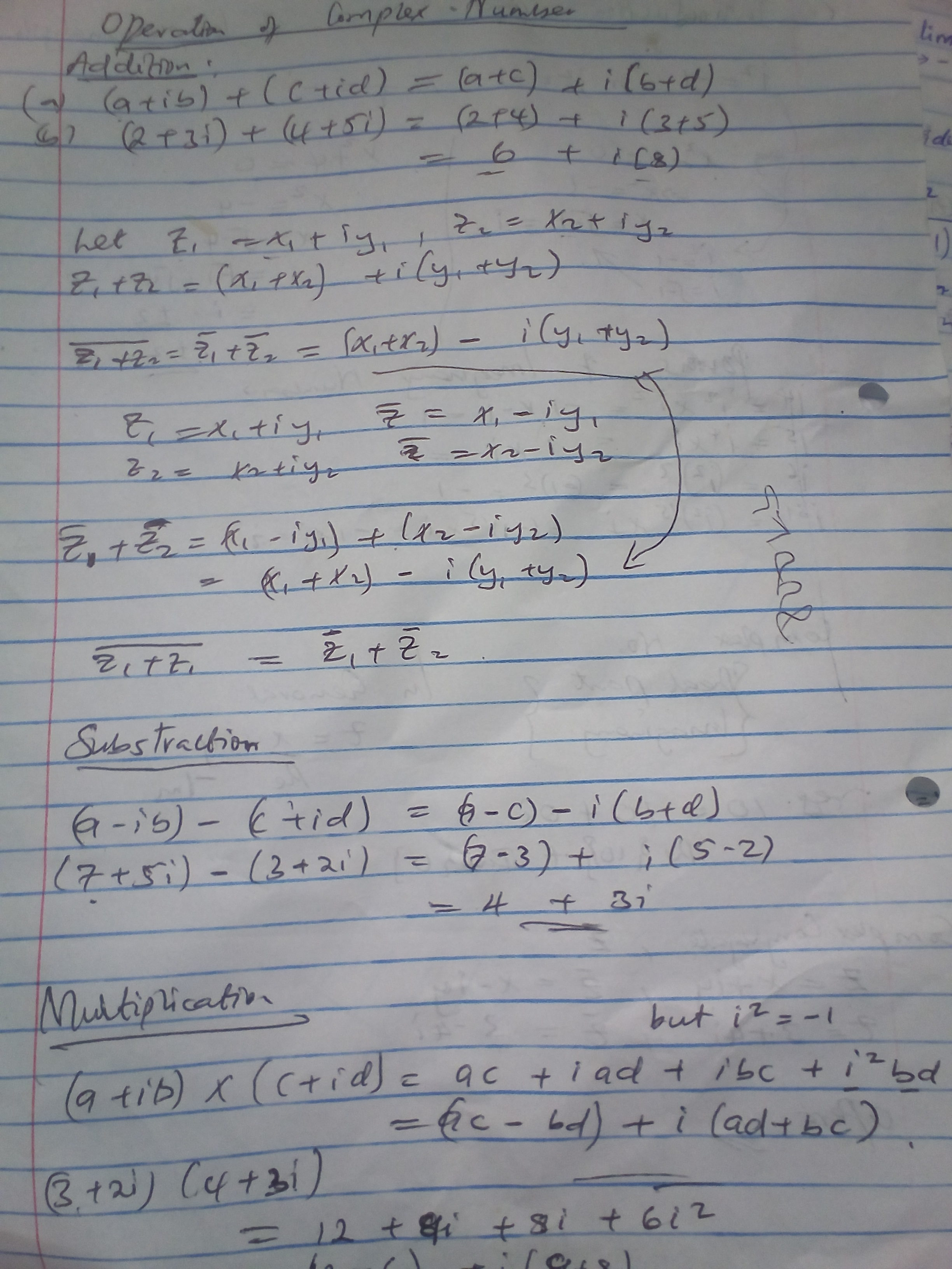 Subtraction and Division of Complex Numbers