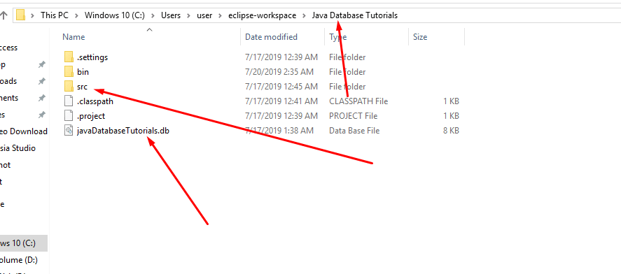 Database location in Eclipse IDE