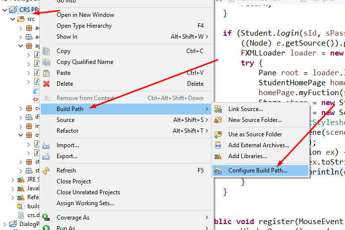 How to add jar file in Eclipse IDE, Right Click, Select Build Path, then Configure Build Path