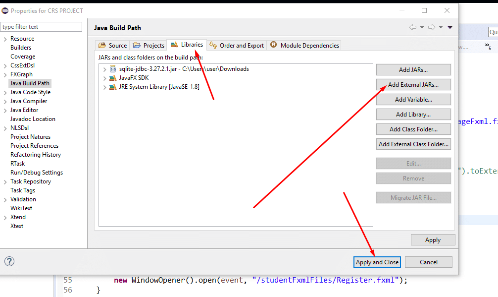 How to qdd jar file in Eclipse IDE, click add external jar