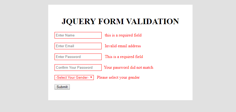 JQuery HTML FORM validation