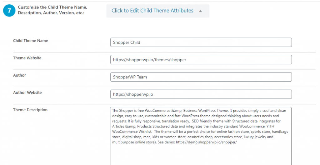 child theme configuration text